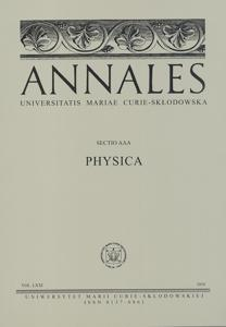 Okładka: Annales UMCS, sec. AAA (Physica), vol. LXXI