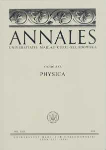 Okładka: Annales UMCS, sec. AAA (Physica), vol. LXIX